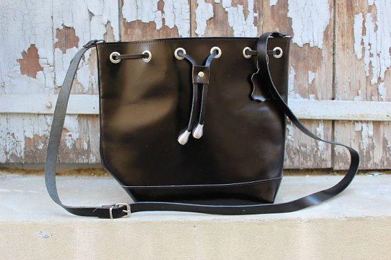 Black crossbody bag leather bucket bag leather womens by EATHINI