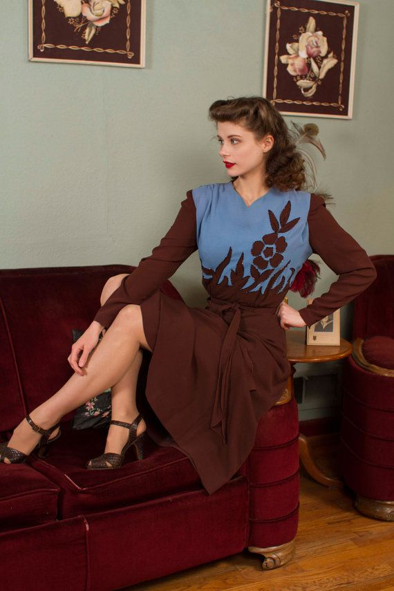 Vintage 1940s Dress Fantastic Two Tone Rayon Cocktail by FabGabs