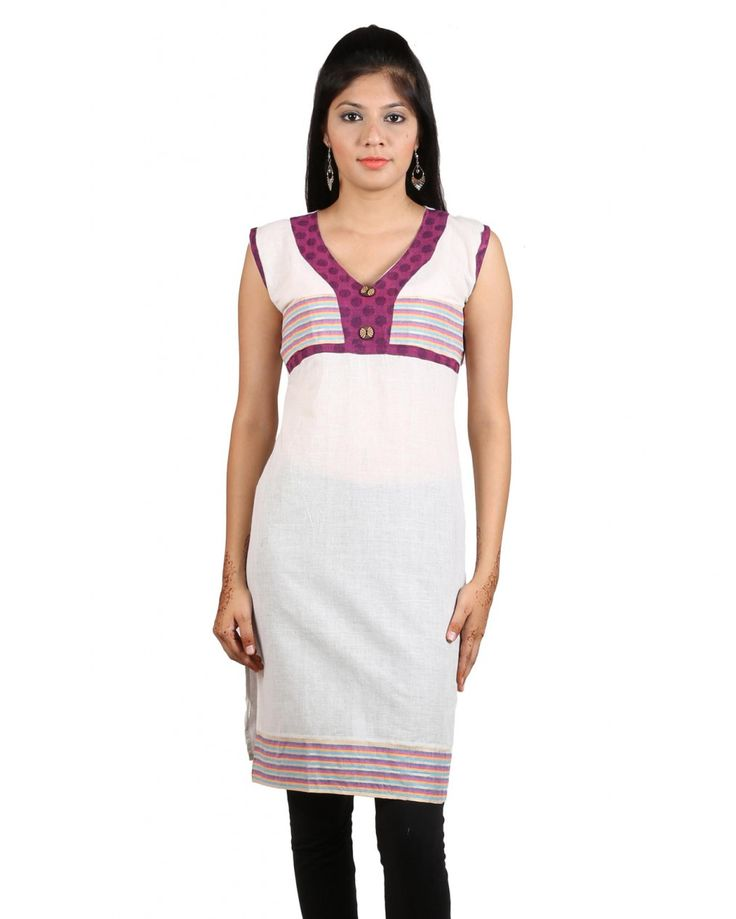 This organic white color kurti with patch work which is made from soft cotton fabric comes from purple you.Good for daily wear,itensures complete comfort an