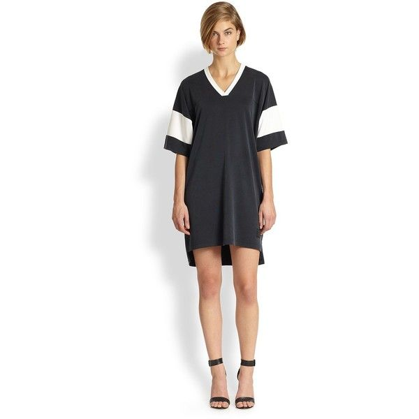 T by Alexander Wang Sand-Washed Pique Football Jersey Dress