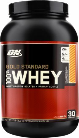 Optimum Nutrition Gold Standard 100% Whey Strawberry Banana 2 Lbs. OPT270 Strawberry Banana - 24g of Whey Protein with Amino Acids for Muscle Recovery and Growth*