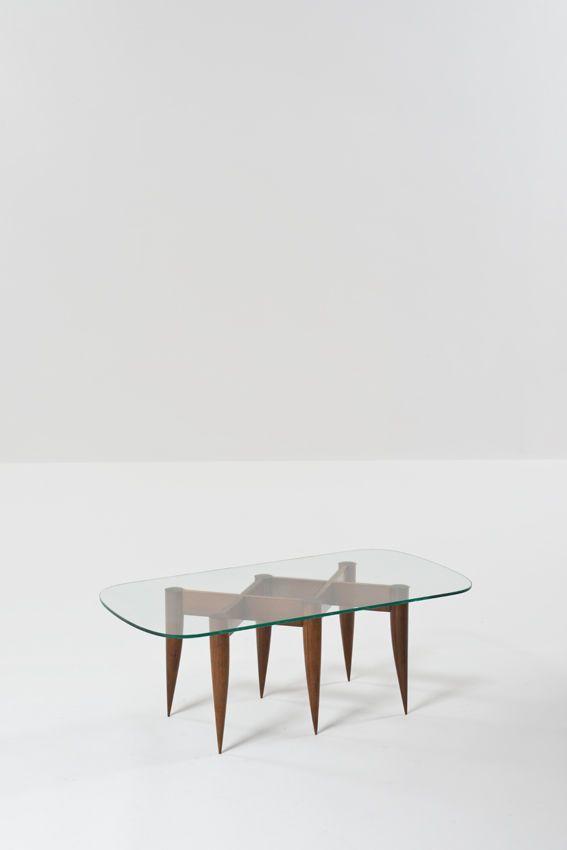 Gio Ponti; Glass and Walnut Coffee Table for Fontana Arte, c1936.