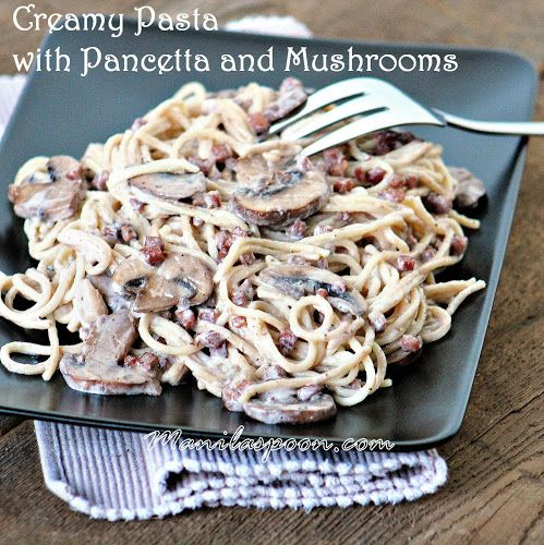 Fettuccine With Porcini And Pancetta Cream Recipe — Dishmaps