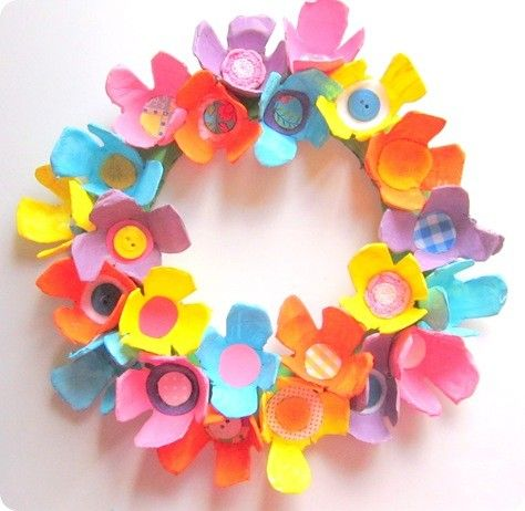 Make a spring wreath out of decorated egg cartons.