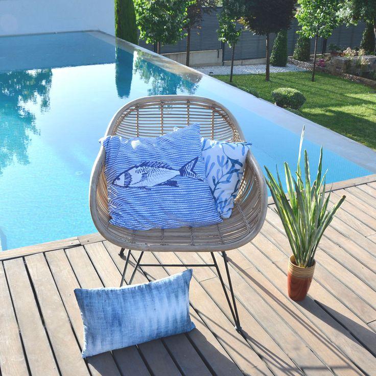 Idea para decorar con cojines de verano. Funda de Cojín de Peces, Coral y Tejido Vaquero. #fundacojin #cojin #cojines #cojinazul