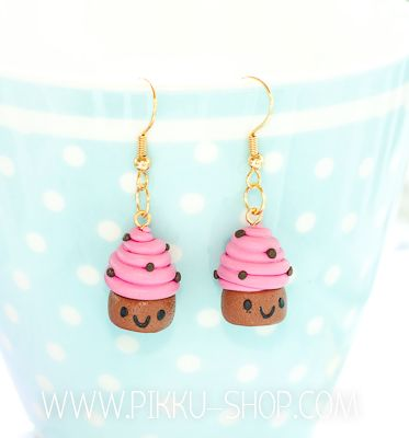 Happy Raspberry Cupcake Earrings from Pikku Shop | www.pikku-shop.com | #kawaii #cupcake #earrings #cute #polymerclay #fimo