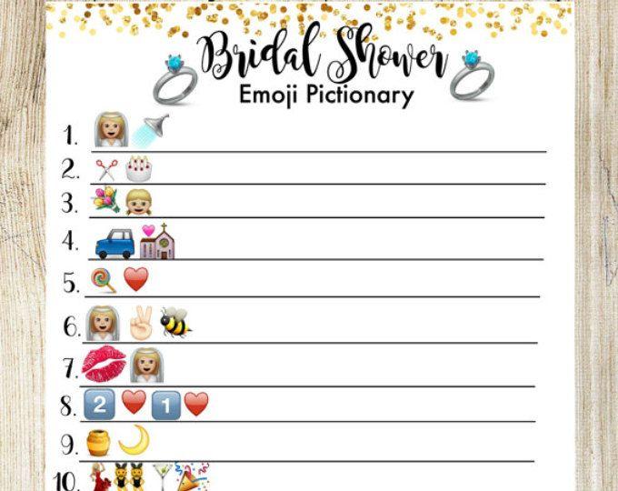 Bridal Shower Pictionary Emoji Game. Bridal Shower Game Printable, Wedding Shower Games Instant Download