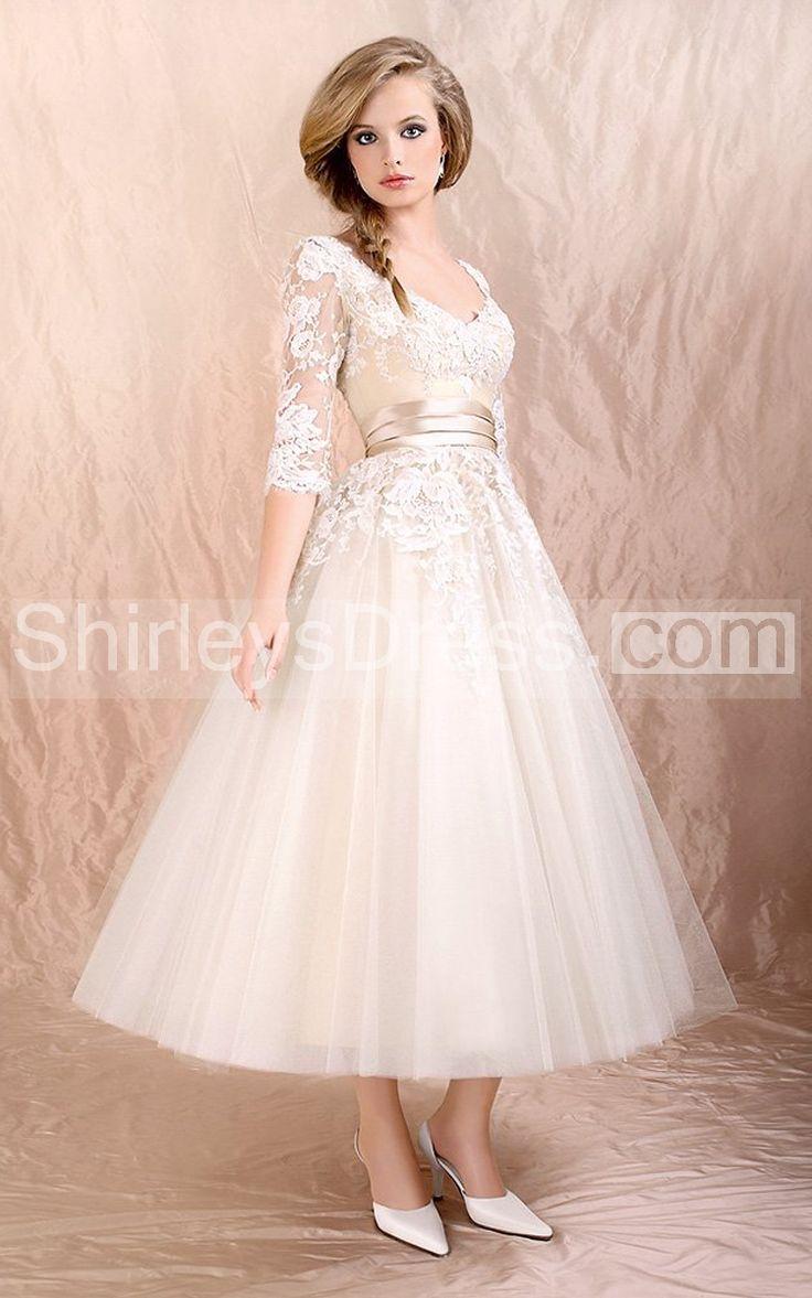 Enchanting V-Neck Lace Bodice Tulle Dress With 3/4 Illusion Lace Sleeve