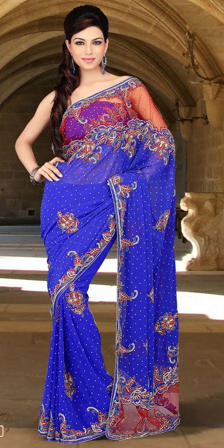 Blue Color Faux Georgette Bridal Saree TPSE708. Sale : $189.05
