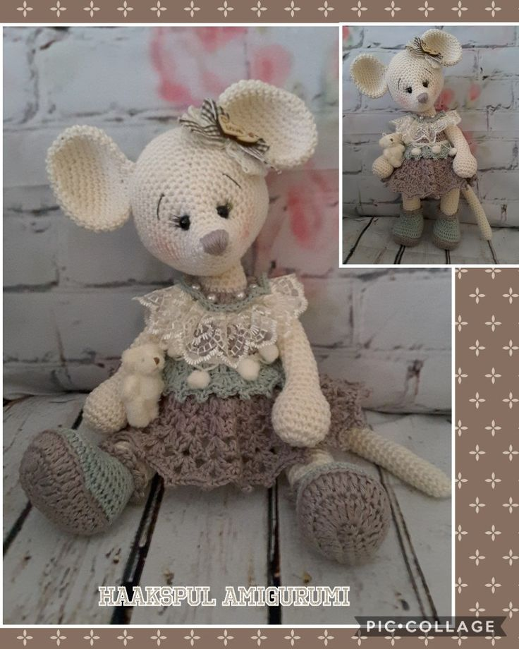 Muisje gemaakt,  basismuis is Madame Roquefort van Marygurumi  en de rest is eigen fantasie  https://www.etsy.com/nl/listing/241177616/haken-patroon-patroon-tutorial-amigurumi?ref=shop_home_active_75