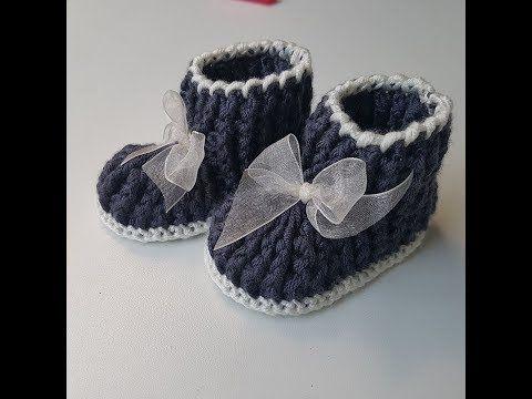 Bebek  patiği modeli DIY crochet baby shoes - YouTube free tutorial