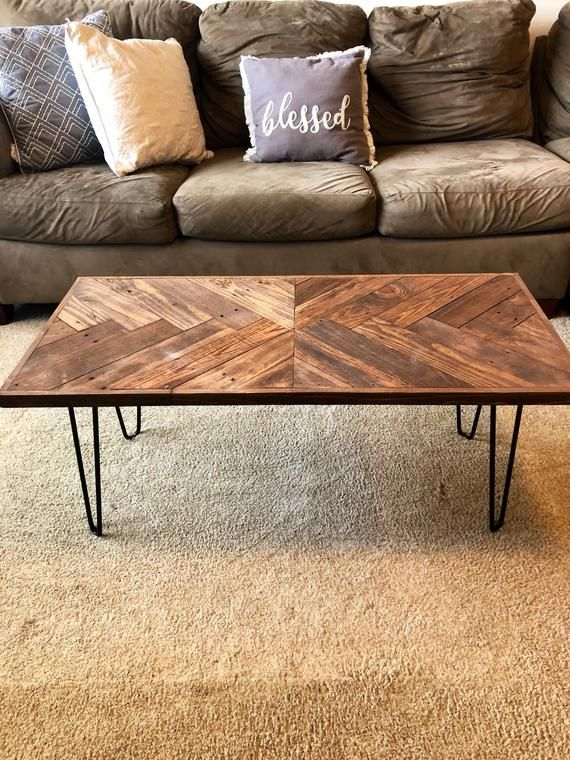 Chevron Table, Herringbone Coffee Table With Hairpin Legs, Coffee Tables, Wooden Pallet Table, Sofa Table, Pallet Furniture, Rustic Table, E