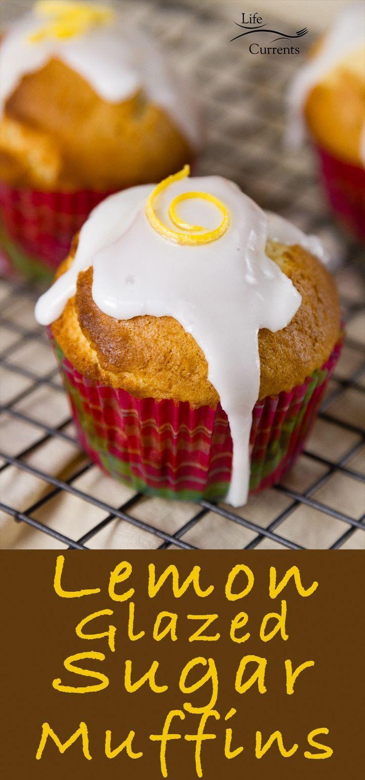 Lemon Glazed Sugar Muffins - Tangy sweet lemon glaze tops a nice dense and not too sweet vanilla cake muffin