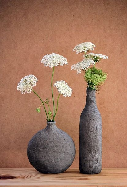 easy diy decor hand formed cement over glass vases, concrete masonry, crafts, home decor, how to, These vases were made with the thick mix