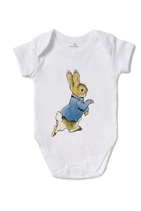 Peter Rabbit Onesie or T-Shirt , Baby Bodysuit / Creeper, Beatrix Potter, Baby shower, White 100% Cotton, Direct Garment Printing