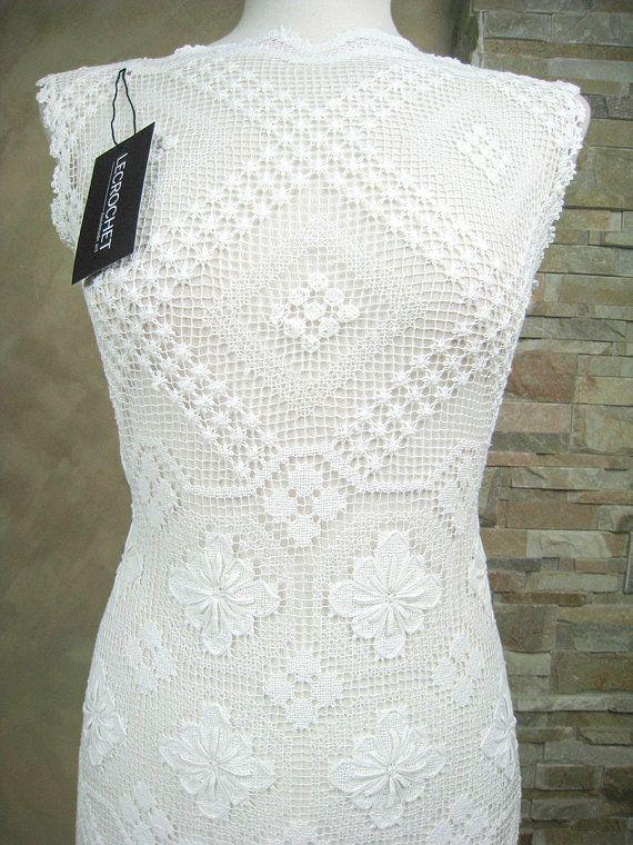 Vestido de novia exclusivo de encaje blanco por LecrochetArt