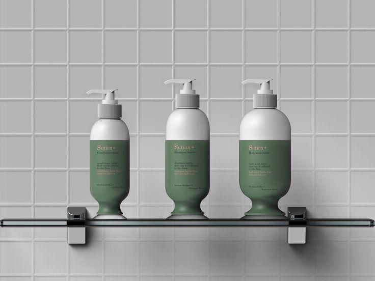Suction shampoo bottle