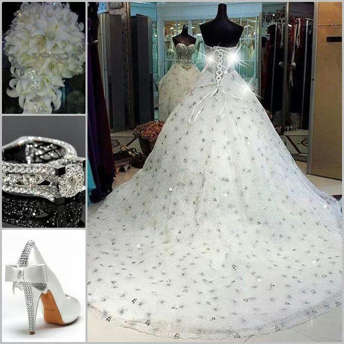 Ravishing Elegant Sparkle Of A Dress Bouquet Diamond Ring Wedding Gownswedding