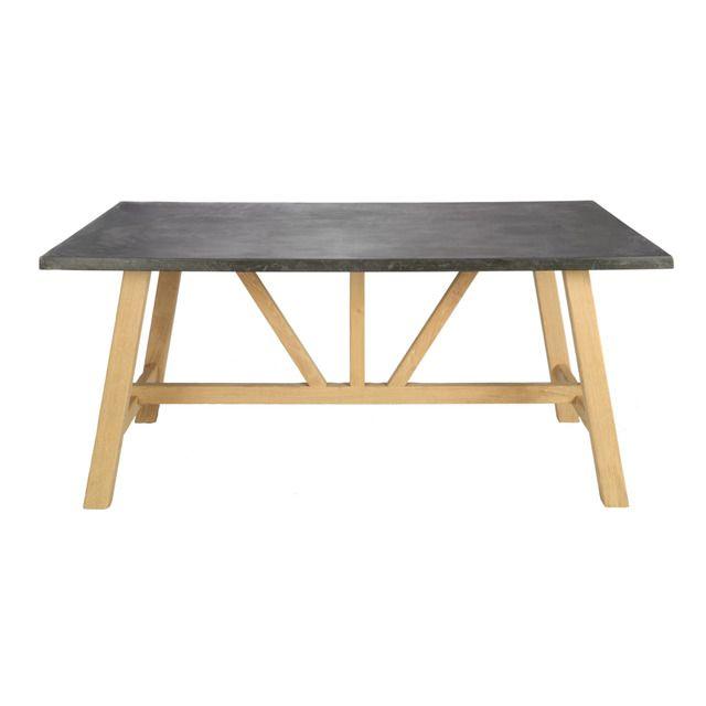 mesa con estructura de caballete de madera de roble y una slida y elegante encimera de