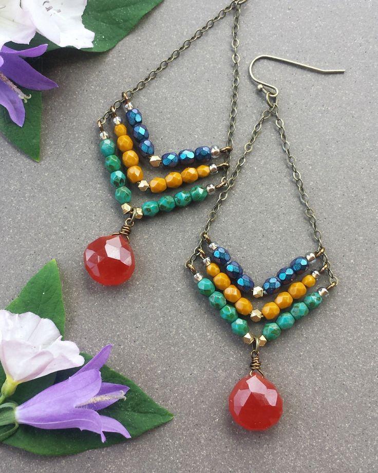 Beaded Gemstone Chevron EARRINGS in Brass >> Metallic Indigo, Goldenrod & Turquoise Glass Beads with Carnelian Gems >> Bold, Boho Style by MileHighBeads on Etsy https://www.etsy.com/listing/463291587/beaded-gemstone-chevron-earrings-in