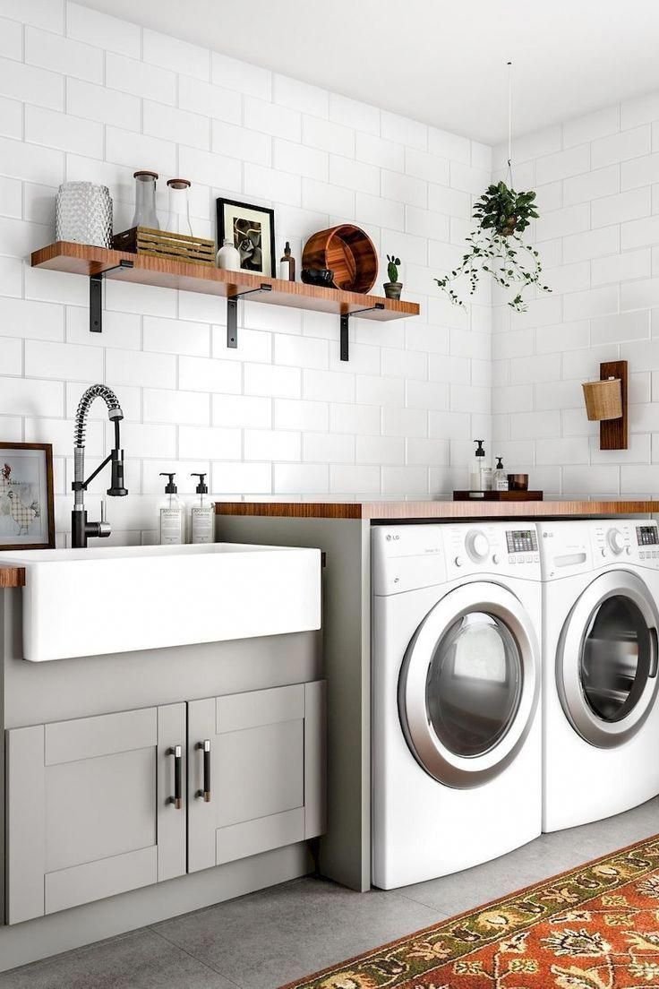 Home Basement Bathroom Laundry Room Hampton Bay Kitchen Cabinet Cabinetry Major Appliance Furnitur In 2020 Modern Laundry Rooms Laundry Room Decor Dream Laundry Room