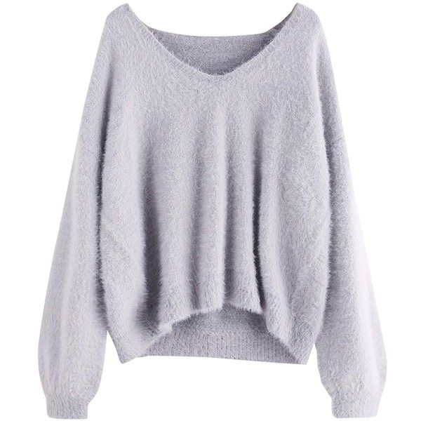ROMWE Women's Loose Puff Sleeve V Neck Fuzzy Pullovers Jumper ($25) ❤ liked on Polyvore featuring tops, sweaters, loose tops, v neck sweater, v-neck pullover sweater, v neck tops and loose fitting sweaters