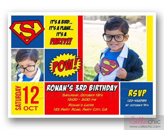 17 Best images about Damons 1st birthday – Superman Birthday Invitations