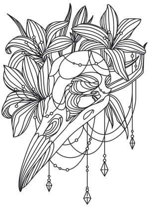 Life And Death Mingle Beautifully In This Bird Skull Lilies Design Adult ColoringColoring BookVanityEmbroidery