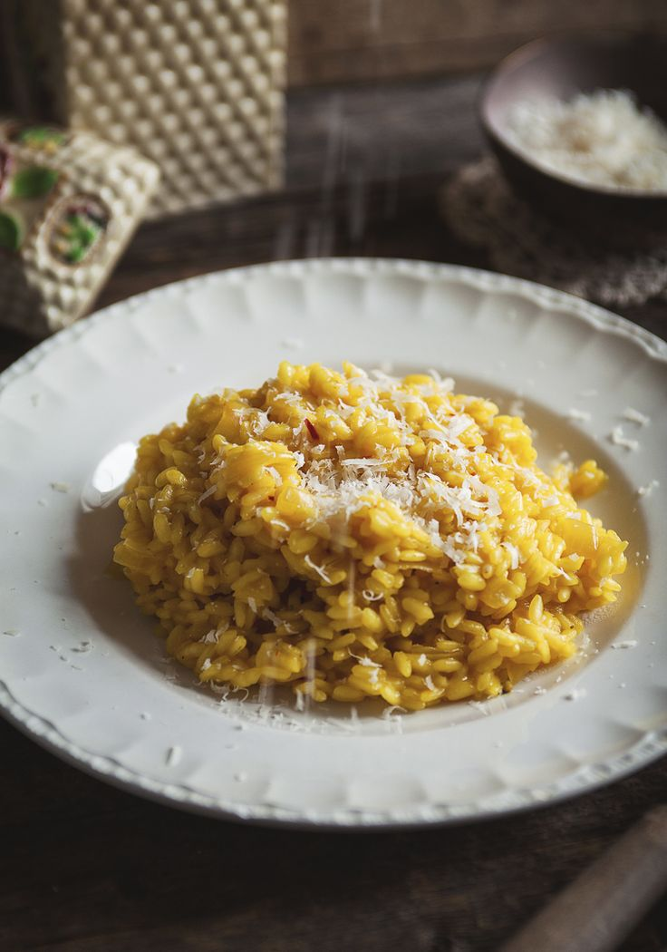 Un risotto classique, avec une touche de safran (l'épice la plus chère du…