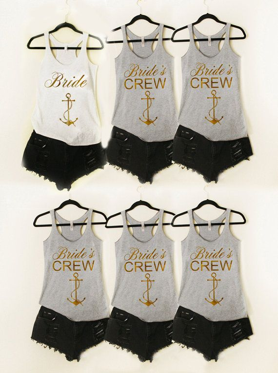 12 Brides Crew 1 Bride Anchor GOLD Bridesmaid Tank by shopluvolive