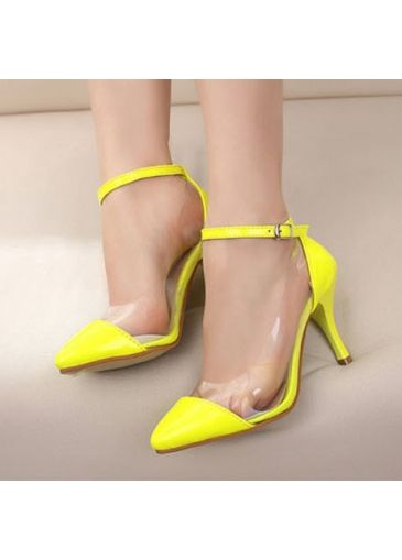 32Fabulous Patchwork Design Ankle Strap Neon High Heels Yellow with cheap wholesale price, buy Fabulous Patchwork Design Ankle Strap Neon High Heels Yellow at wholesaleitonline.com !