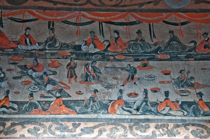 a late Eastern Han (25–220 AD) Chinese tomb mural showing lively scenes of a banquet (yanyin 宴飲), dance and music (wuyue 舞樂), acrobatics (baixi 百戲), and wrestling (xiangbu 相撲), from the Dahuting Tomb (Chinese: 打虎亭漢墓, Pinyin: Dahuting Han mu), on the southern bank of the Siuhe River in Zhengzhou, Henan province, China (just west of Xi County) Right: a mural from an Eastern Han tomb at Zhucun 朱村, Luoyang, Henan province; the two figures in the foreground are playing liubo, with the playing mat…