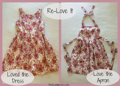 Re-Love a dress into an apron tutorial- The Lost Apron