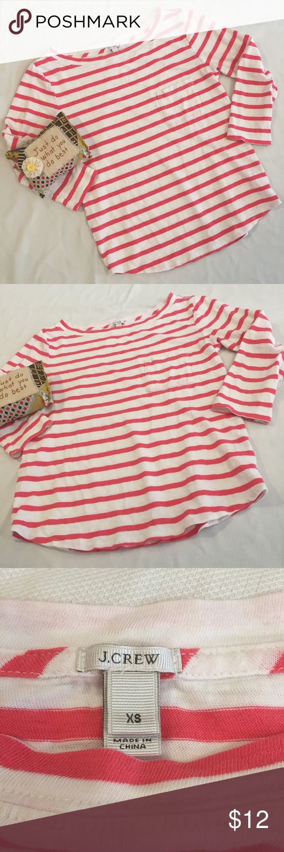 J Crew striped shirt Pink and white striped 3/4 sleeve J Crew shirt with a pocket on the front. Cute top!!! Size XS. J Crew Tops