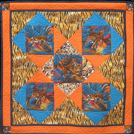 The Tiger Quilt  wall hanging or knee rug  by HandMadeQuiltsbyJane
