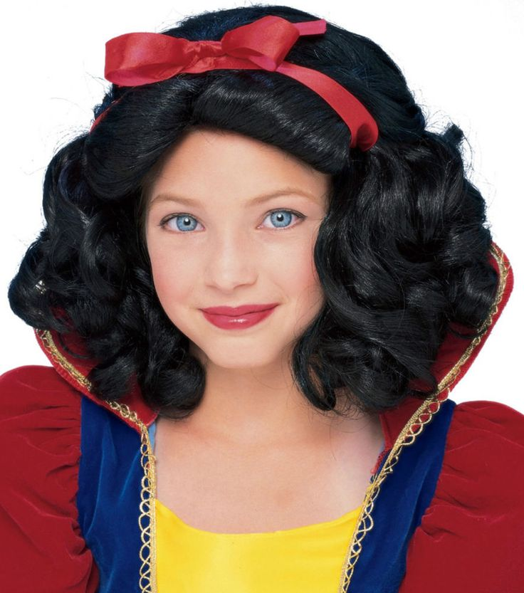 Storybook Princess child size wig has a light elasticized mesh cap for comfortable wear, that will fit a lot of different size heads. Storybook Princess wig is short length with tight waves and a red ribbon. When you need a story book character Snow White look. Hand washable and easy to take care of. Recommended Age: 4+ Years Storybook Princess Wig child female dress up costume hair theater movie stage TV #Rubies #Wig