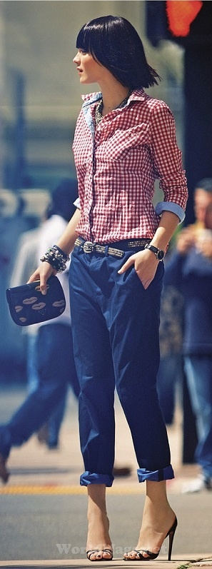 Blue chino's  red checked shirt. Love