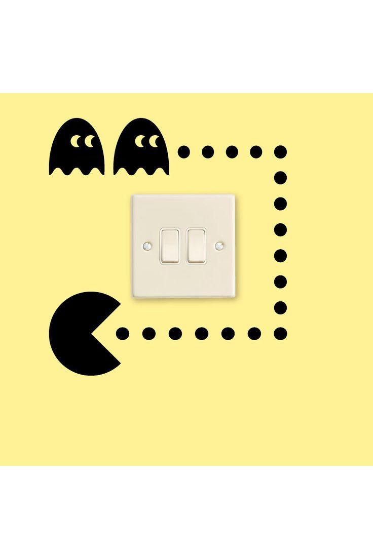 Venta Stickers / 15821 / Design y City / Sticker Pacman Para Interruptor Negro