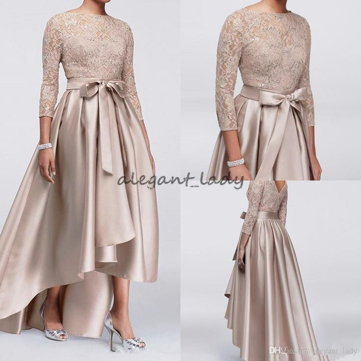 2018 Mother Off Bride Dresses Champagne Lace Applique Sequins Top 3/4 Long Sleeves Satin High Low Sashes Mother Of The Bride Dress Overskirt Evening Dress Mother of the Bride Pant Suit Occasion Prom Dress Online with $125.72/Piece on Alegant_lady's Store | DHgate.com