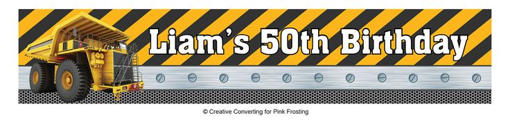 Builder Construction Party Birthday Zone Personalised Banners - We Print Your Text