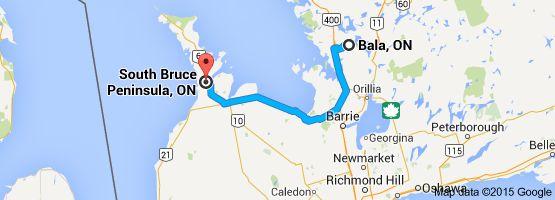 Van: Bala, ON, Canada Naar: South Bruce Peninsula, ON, Canada