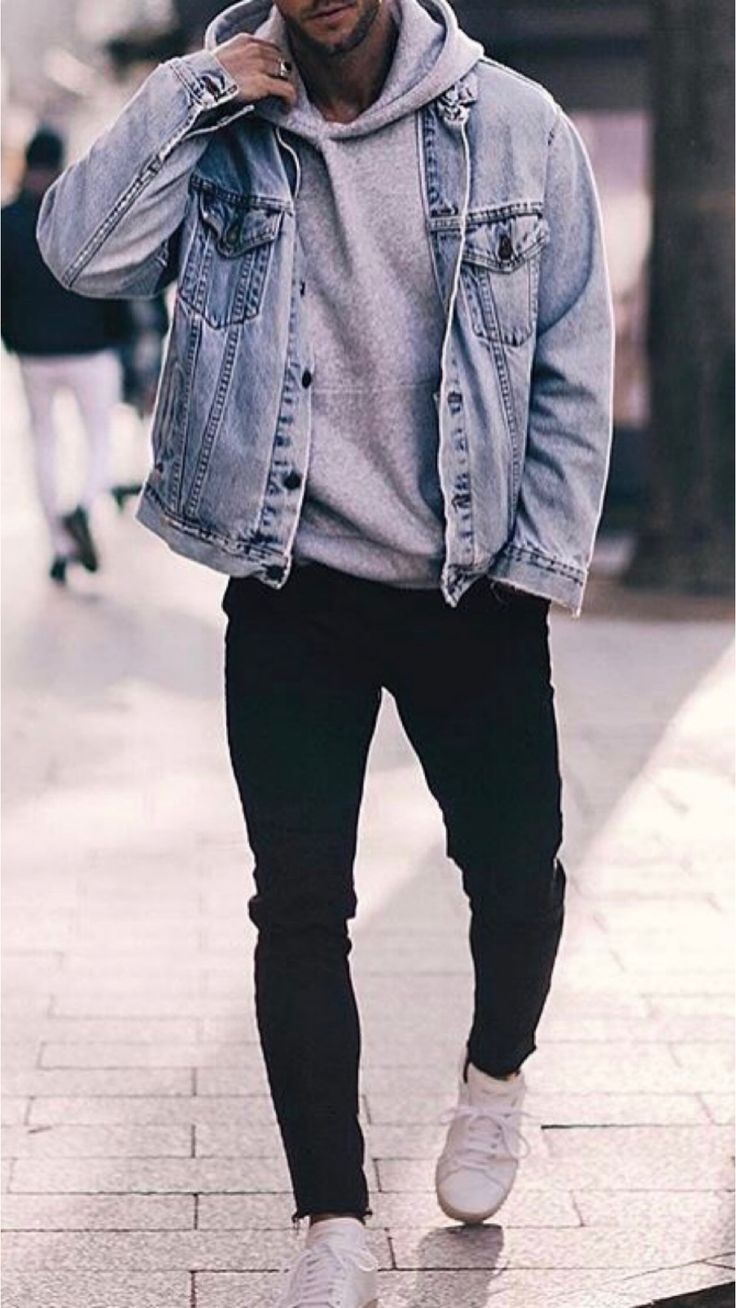 23 Jeans Jacket Outfits You Ll Love Denim Outfit Men Winter Outfits Men Hoodie Outfit Men [ 1308 x 736 Pixel ]