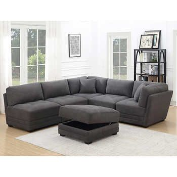 Best Ervin 6 Piece Fabric Modular Sectional 5 Star Reviews Saw 400 x 300