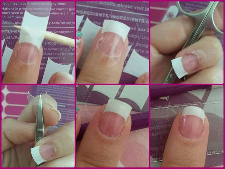 Jamberry Tips tips order long, place the white where you want it, trim around the cuticle. Even tips every time!