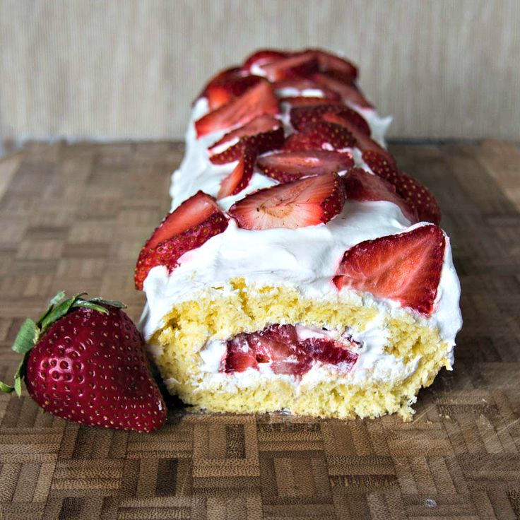 Strawberry Shortcake Roll - Delicious Strawberrries rolled up in sponge cake roll with whipped cream
