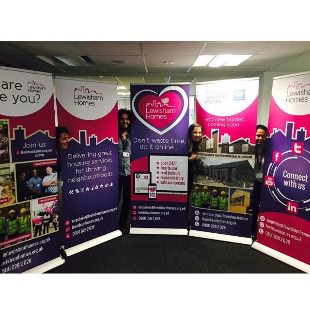 Fab work from Designer for our new @lewishamhomes banners. Spot the Comms Officer!