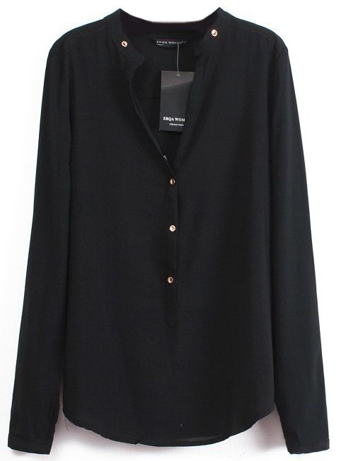 Shop Black V Neck Long Sleeve Buttons Blouse online. Sheinside offers Black V Neck Long Sleeve Buttons Blouse & more to fit your fashionable needs. Free Shipping Worldwide!