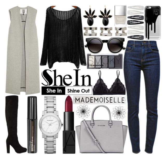 """""""#157 Loose Knit Sweater-SheIn"""" by mariana15c ❤ liked on Polyvore featuring Burberry, NARS Cosmetics, Maison Margiela, Maybelline, Nly Shoes, Topshop Unique, Talula, Michael Kors, Rosanna and Marni"""