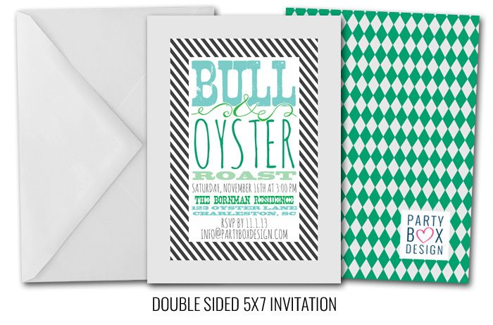 Bull and Oyster Roast-Bull and Oyster Roast Invitation, southern themed parties