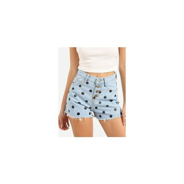 Printed Rolled Hem Light Blue Denim Shorts ❤ liked on Polyvore featuring shorts, light blue denim shorts, rolled denim shorts, light blue shorts, rolled shorts and short jean shorts